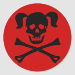 Black Skull and Crossbones With Pigtails Classic Round Sticker