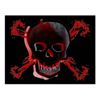 Black Skull & Bloody Cross Bones Postcard