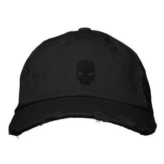 Black skull embroidered baseball hat