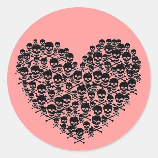 Black Skull Heart Classic Round Sticker