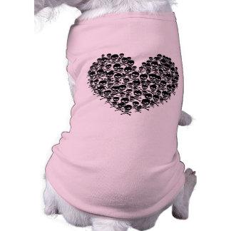 Black Skull Heart Pet Tee Shirt