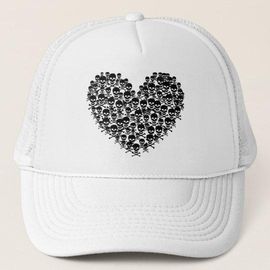 Black Skull Heart Trucker Hat