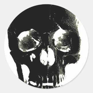 Black Skull - Negative Image Round Sticker