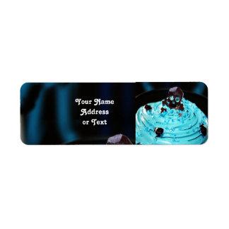 Black Skull on Blue Icing Cupcake Return Address Label