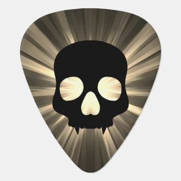 Halloween Themed Black skull on sepia and gray guitar pick