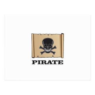 black skull pirate postcard