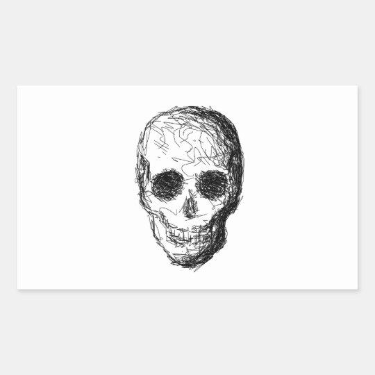 Black Skull. Rectangular Sticker