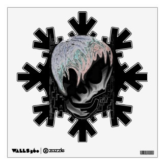Black skull snowflake decal room graphic