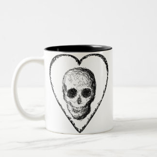 Black Skull. Two-Tone Coffee Mug