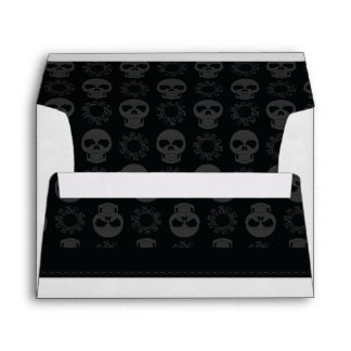 Black Skulls And Gears Pattern With Border Envelope
