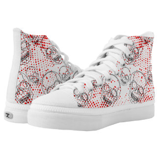 Black skulls on bloody red splashes background High-Top sneakers
