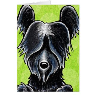 Black Skye Terrier Portrait Custom Card
