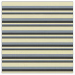 [ Thumbnail: Black, Slate Gray & Tan Lined/Striped Pattern Fabric ]
