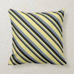 [ Thumbnail: Black, Slate Gray & Tan Lined/Striped Pattern Throw Pillow ]