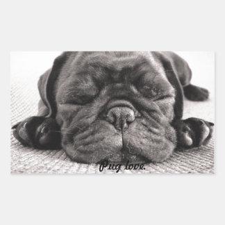 Black sleeping pug rectangular stickers