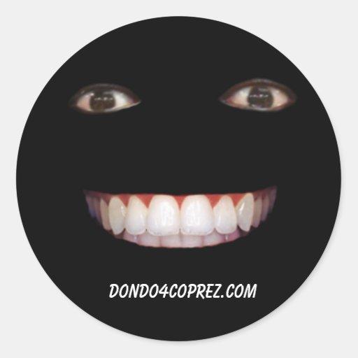 Black Smiley Round Sticker