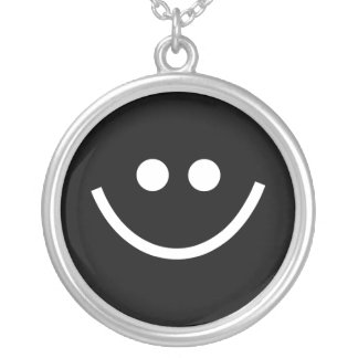 Black Smilie Silver Plated Necklace