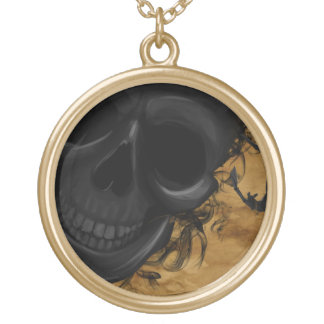 Black Smiling Skull surrounded by Bats and Smoke Gold Plated Necklace