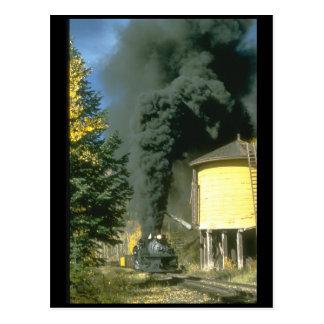 Black smoke at Cresco tank,_Steam Trains Postcard