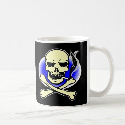 Black Smoking Skull Coffee Mug