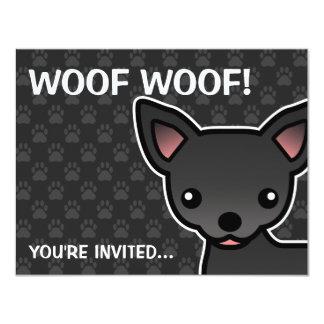 Black Smooth Coat Chihuahua Cartoon Dog Card