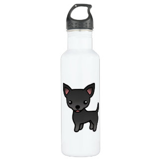 Black Smooth Coat Chihuahua Cartoon Dog Water Bottle