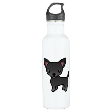 destei Black Smooth Coat Chihuahua Cartoon Dog Water Bottle