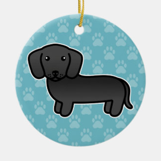 Black Smooth Coat Dachshund Cartoon Dog Ceramic Ornament