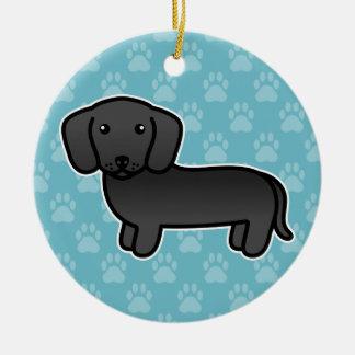 Black Smooth Coat Dachshund Cartoon Dog Ceramic Ornament