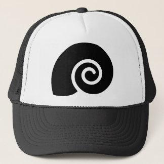 black snail trucker hat