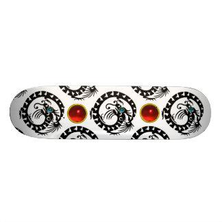 BLACK SNAKE  DRAGON ,Red Ruby Gemstones Skateboard Deck