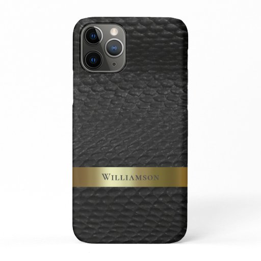 Black Snakeskin Digital Leather Gold Metal iPhone 11 Pro Case