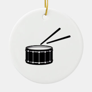 black snare graphic with sticks.png ceramic ornament