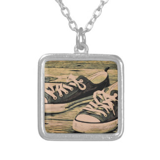 Black sneakers silver plated necklace