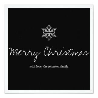 Black Snow Flake Photo Christmas Flat Cards Invitations