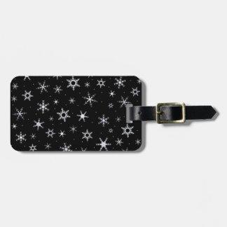 Black Snowflakes Bag Tag