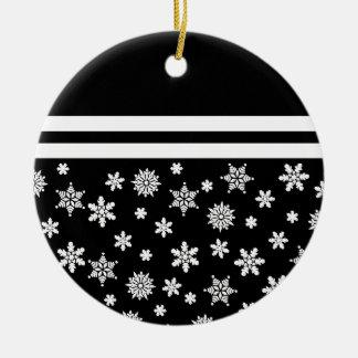 Black Snowflakes Christmas Ornament Round