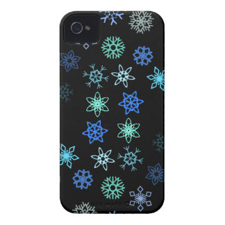 Black Snowflakes Flurry Pattern iPhone 4 Case