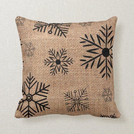 Black Snowflakes On Rustic Burlap Christmas Throw Pillow