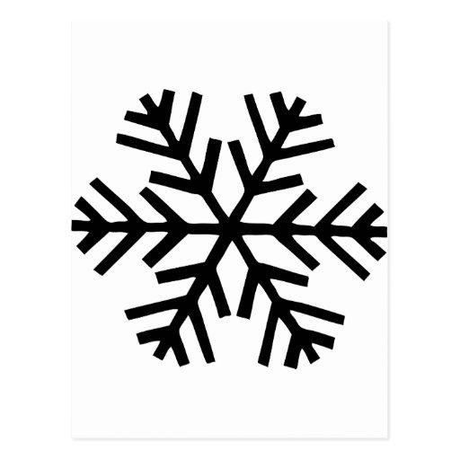 black snowflakes postcard