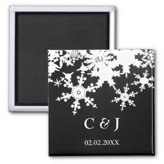 black snowflakes save the date magnets