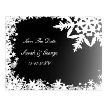 black snowflakes save the date postcard