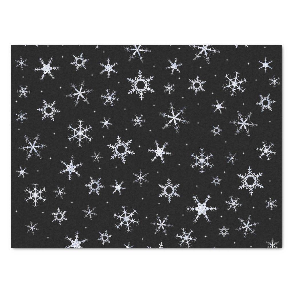Black Snowflakes Tissue Paper