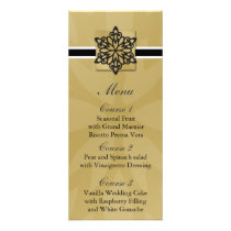 black snowflakes winter wedding menu