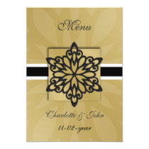 black snowflakes winter wedding menu card