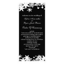 Black snowflakes winter wedding rack card