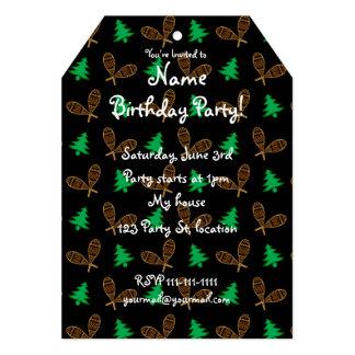 Black snowshoe pattern 5x7 paper invitation card