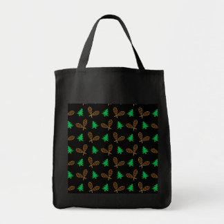 Black snowshoe pattern tote bags