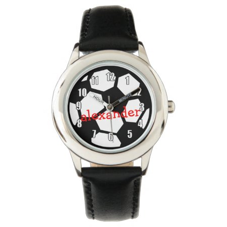 Black Soccer Ball And Name Wrist Watch