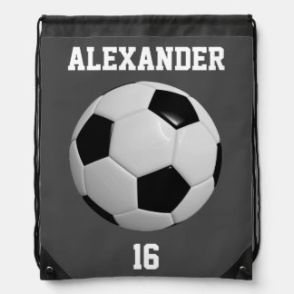Black Soccer Ball Drawstring Bag